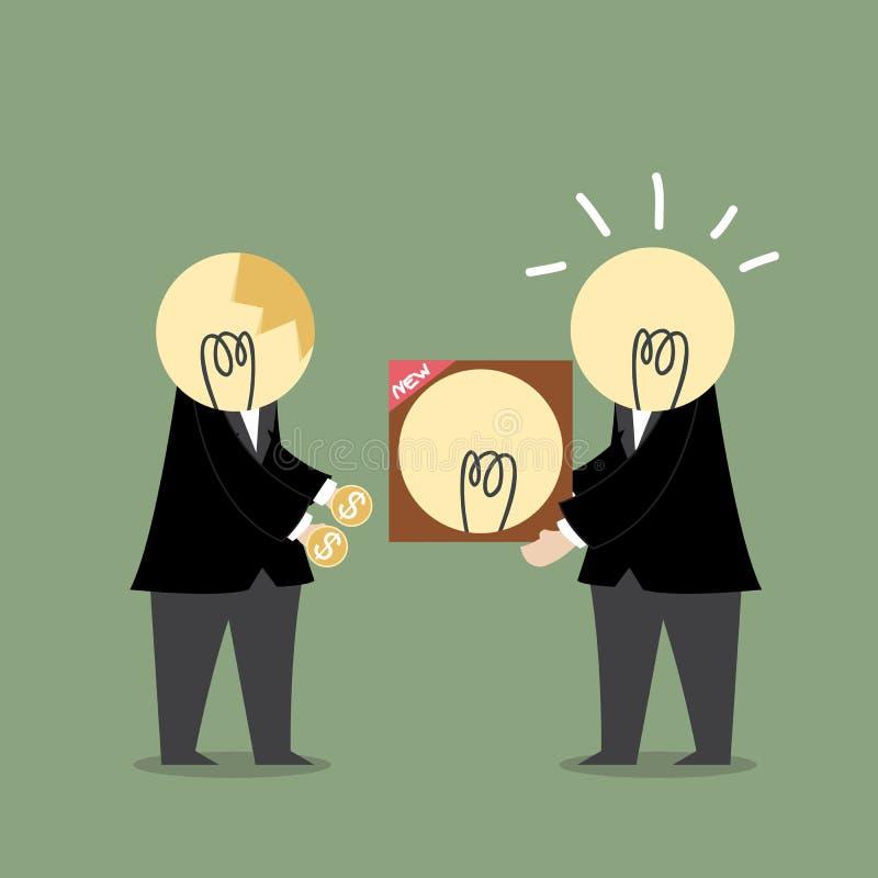 Dólar del intercambio del hombre de negocios con éxito de la idea de la bombilla ilustración del vector