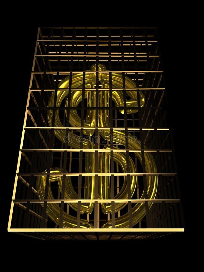 Dólar del oro ilustración del vector