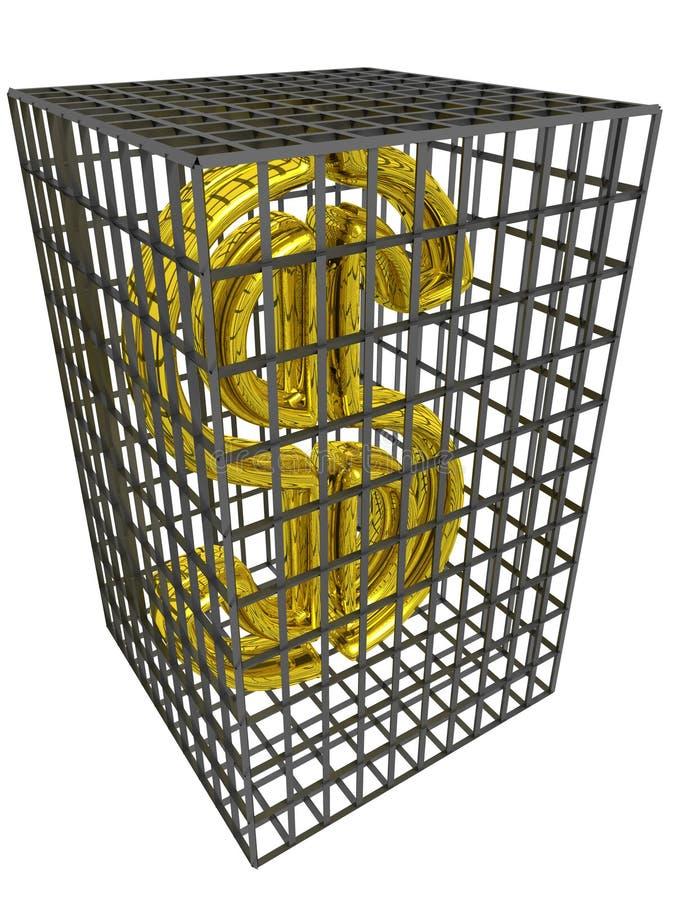 Dólar del oro en una jaula de acero. stock de ilustración