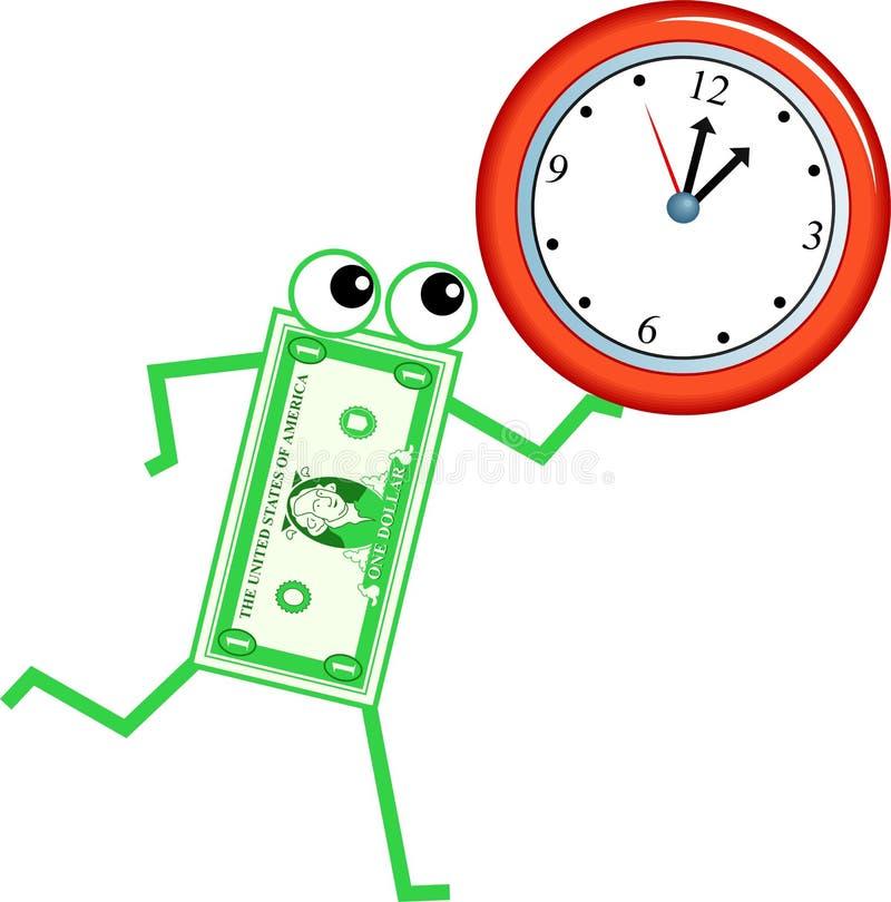Dólar del reloj ilustración del vector