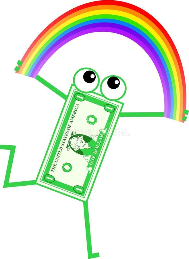 Dólar do arco-íris ilustração do vetor