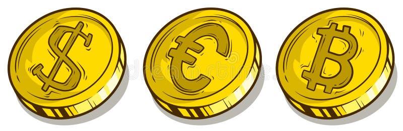Dólar do bitcoin dos desenhos animados e euro- grupo do vetor das moedas ilustração do vetor