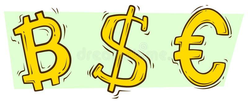 Dólar do bitcoin dos desenhos animados e euro- grupo do vetor do sinal ilustração do vetor