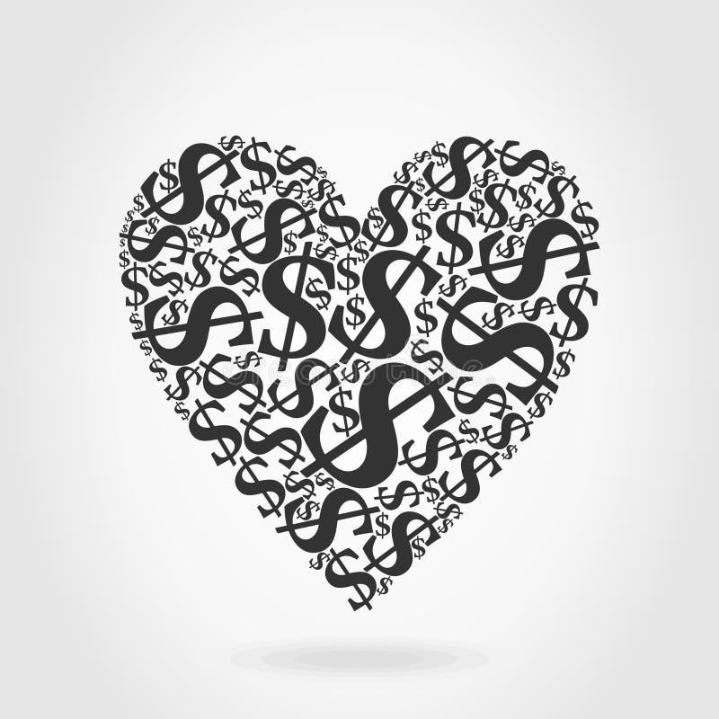 Dólar do coração ilustração do vetor