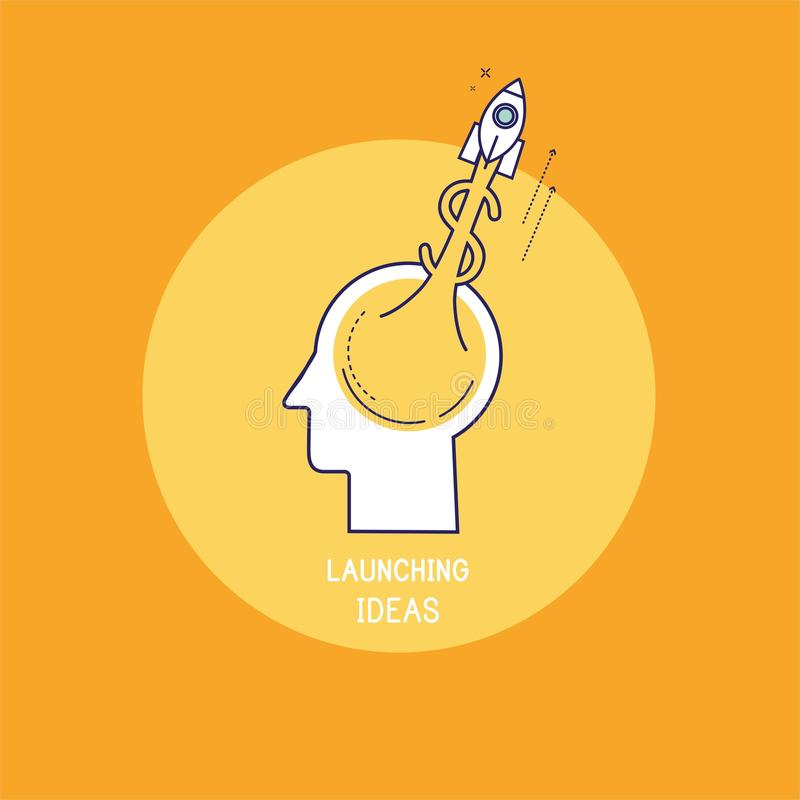 Dólar do foguete do jato com a chama que aumenta para cima de um cérebro humano ilustração do vetor