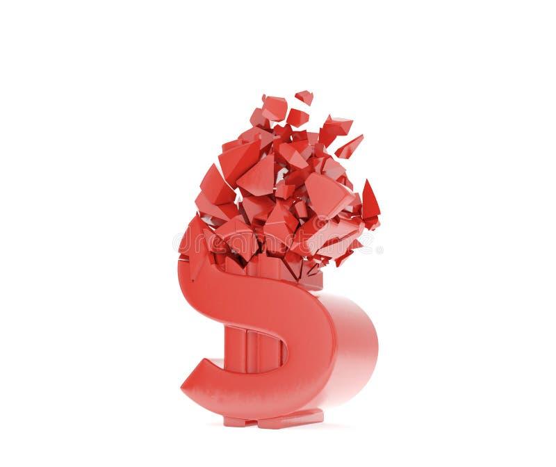 Dólar do vermelho do esmagamento ilustração do vetor