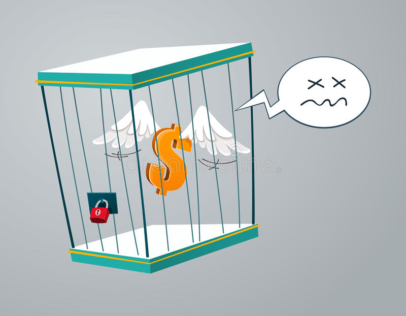 Dólar do voo prendido em uma gaiola ilustração stock