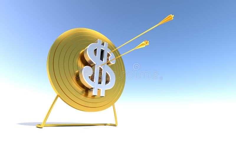 Dólar dourado do alvo do tiro ao arco ilustração do vetor