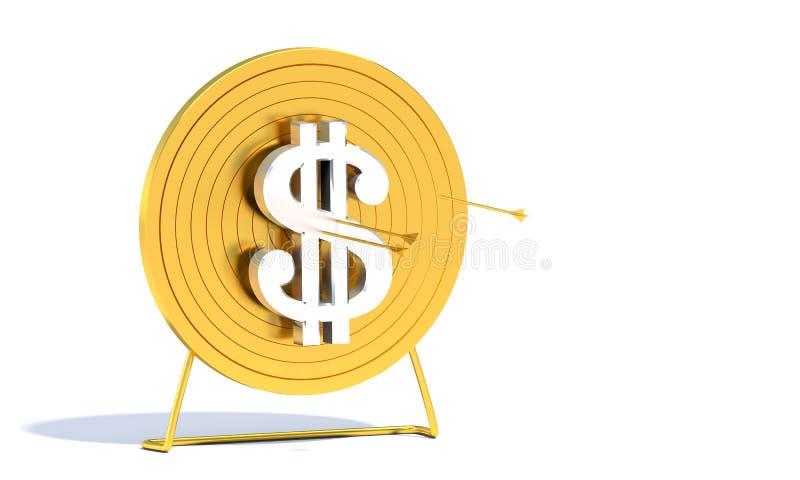 Dólar dourado do alvo do tiro ao arco ilustração stock