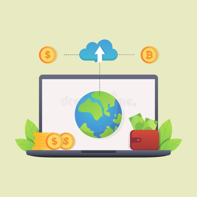 Dólar e bitcoin do benefício da nuvem do portátil ilustração do vetor