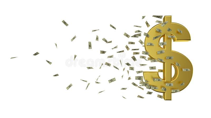 Dólar e dinheiro do ouro da velocidade ilustração royalty free