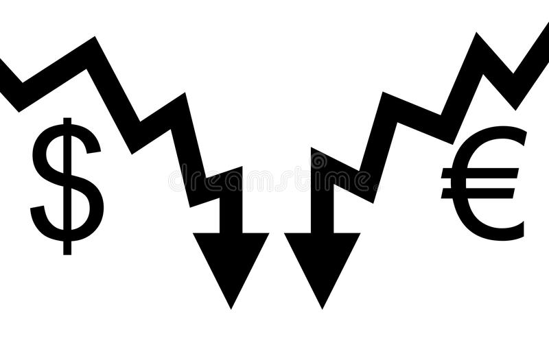 Dólar e euro- falha das setas ilustração stock