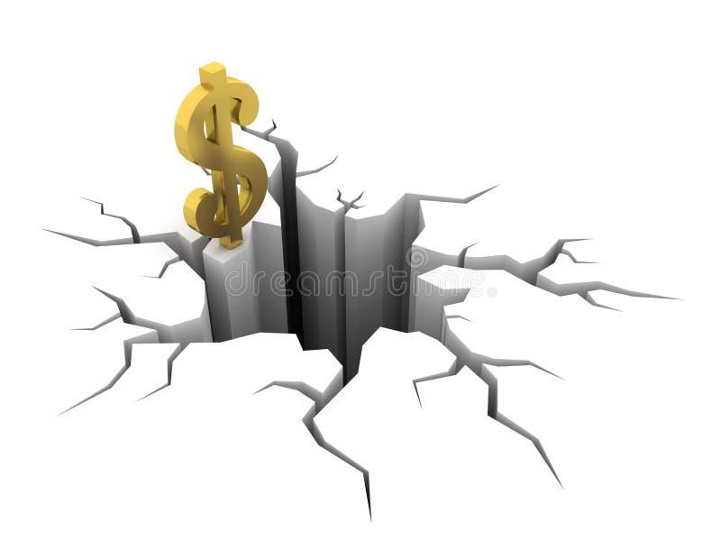 Dólar e furo ilustração royalty free