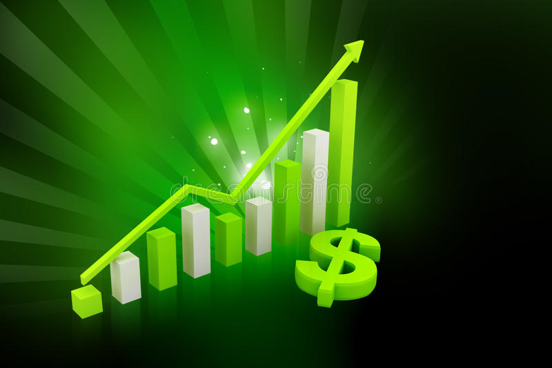 Dólar e gráfico verdes ilustração royalty free
