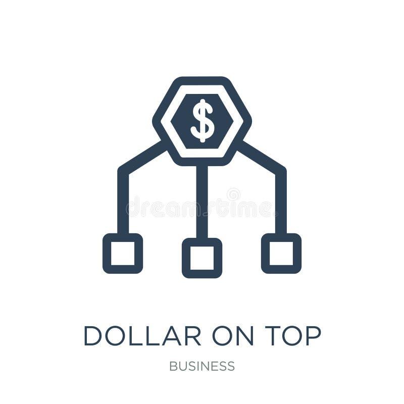 dólar encima del icono financiero de la jerarquía en estilo de moda del diseño dólar encima del icono financiero de la jerarquía  ilustración del vector