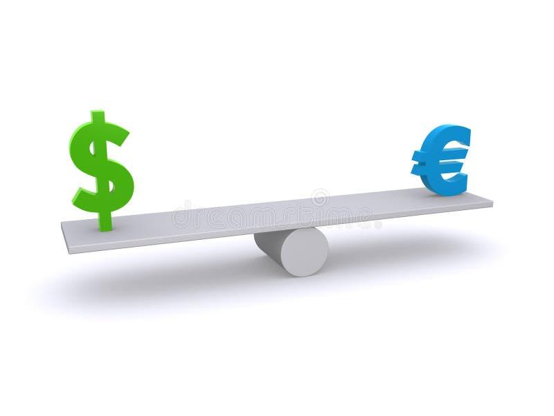 Dólar - euro- balanço ilustração stock