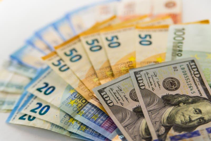 Dólar, euro, cédulas do rublo imagem de stock