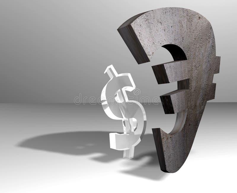 Dólar - euro- moedas ilustração stock