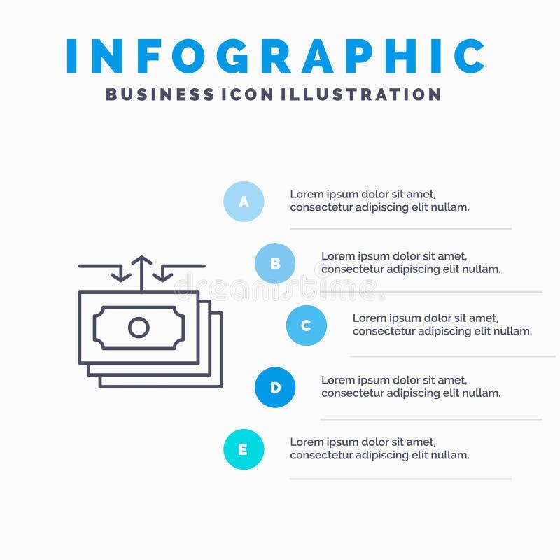 Dólar, flujo, dinero, efectivo, línea icono del informe con el fondo del infographics de la presentación de 5 pasos libre illustration
