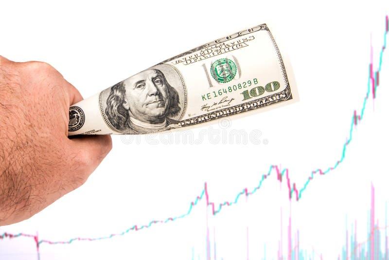 Dólar fuerte con el modelo de levantamiento de la carta imagen de archivo libre de regalías