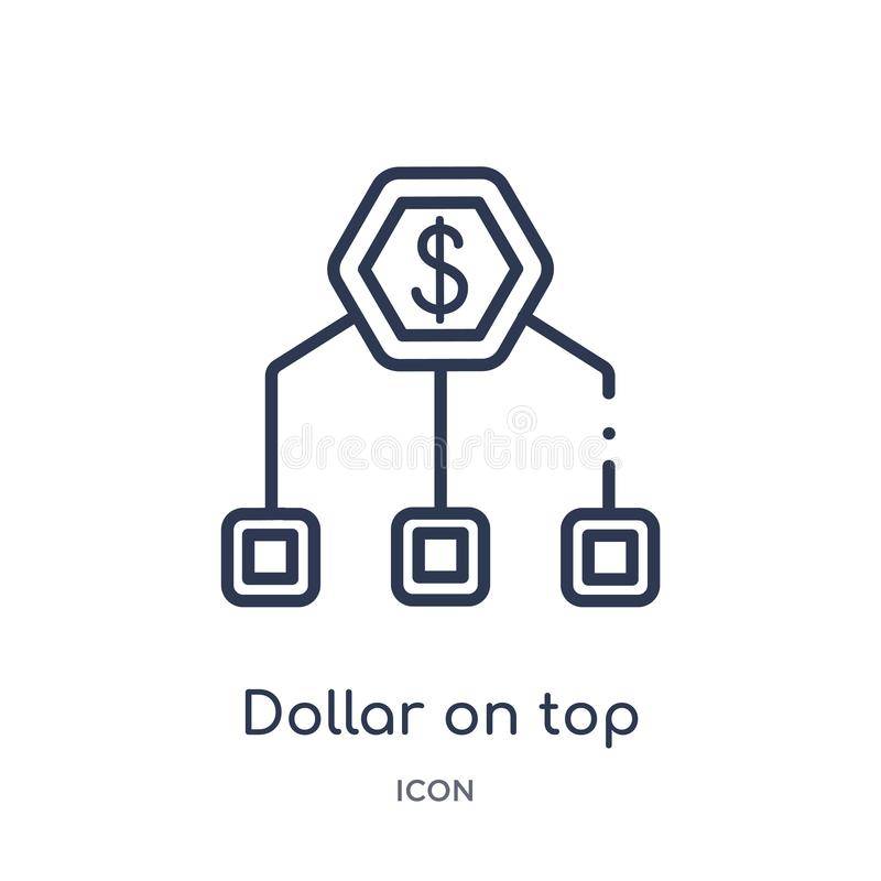 Dólar linear encima del icono financiero de la jerarquía de la colección del esquema del negocio Línea fina dólar encima de la je ilustración del vector