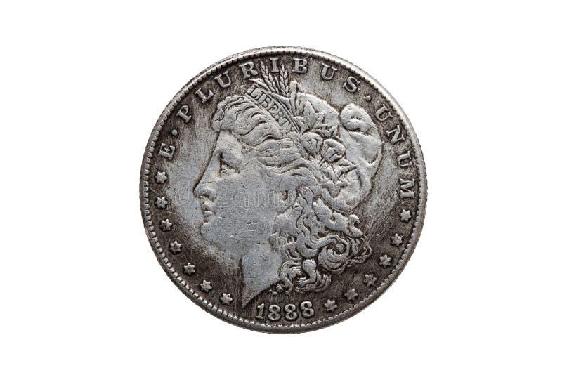 Dólar Morgan Silver Coin de los E.E.U.U. uno fotografía de archivo