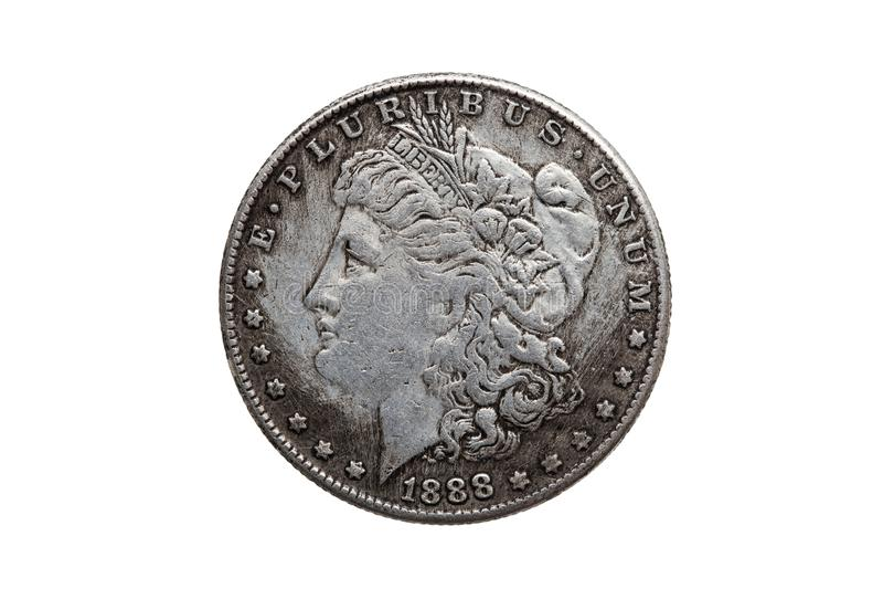 Dólar Morgan Silver Coin dos EUA um fotografia de stock