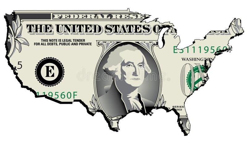 Dólar na forma dos E.U. ilustração stock