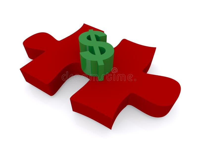 Dólar na parte do enigma de serra de vaivém ilustração do vetor