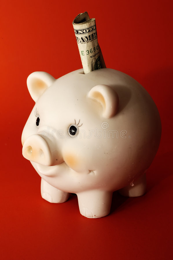 Dólar no banco Piggy foto de stock royalty free
