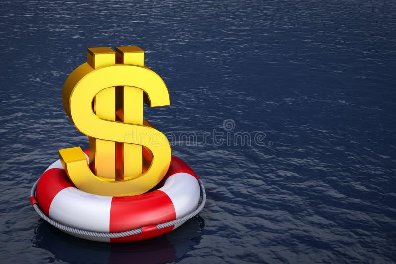 Dólar no boia salva-vidas ilustração stock