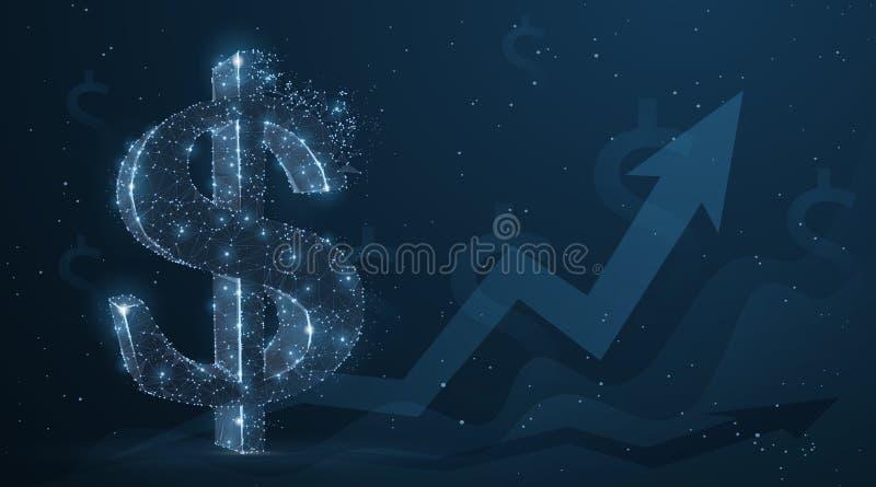 Dólar O sinal de dólar abstrato do vetor 3d com gráfico cresce acima o fundo da seta Moeda, crescimento da operação bancária, pro ilustração royalty free