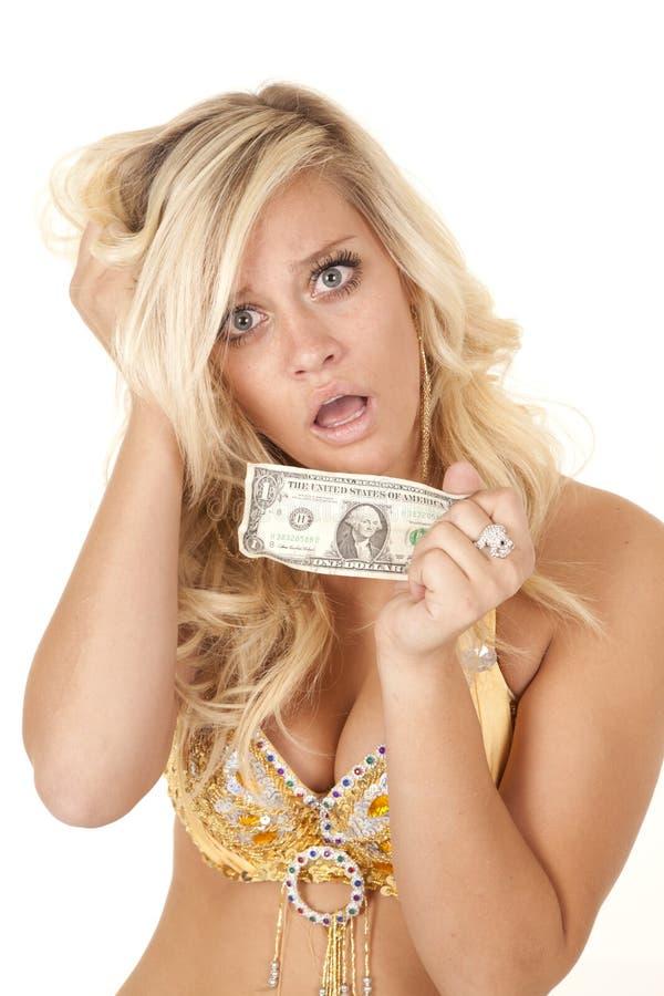 Dólar pasado preocupante de la mujer imágenes de archivo libres de regalías