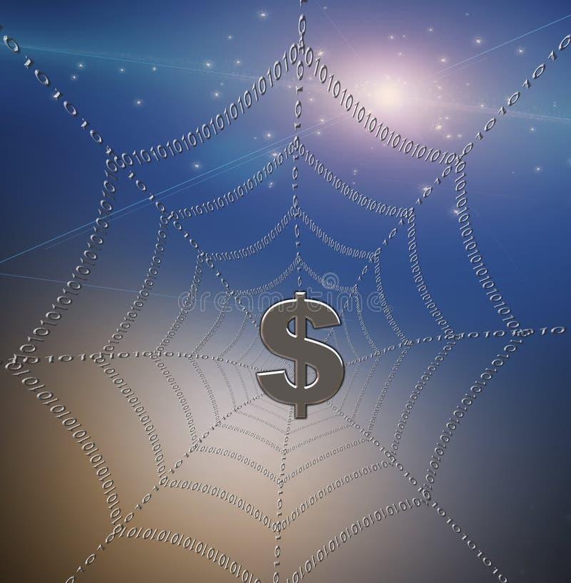 Dólar travado no Web ilustração do vetor