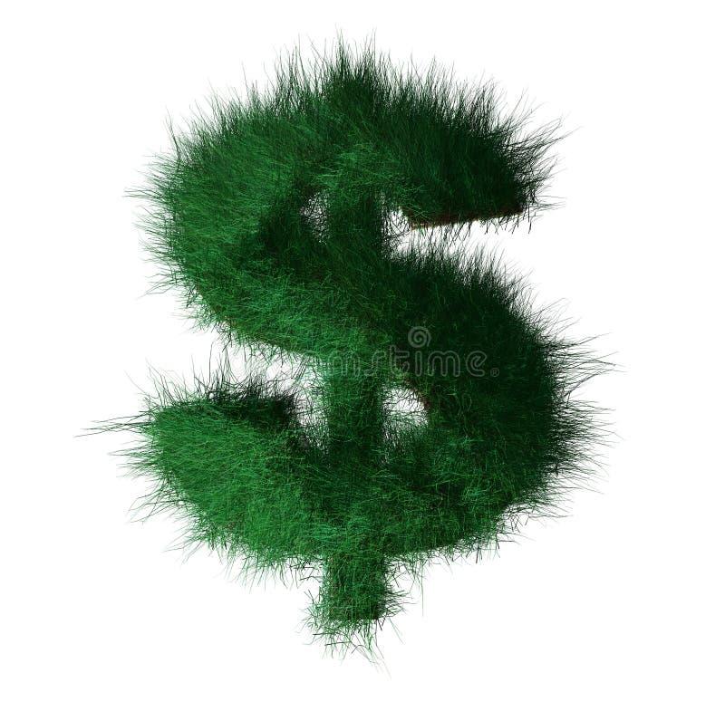 Dólar verde feito da grama ilustração do vetor