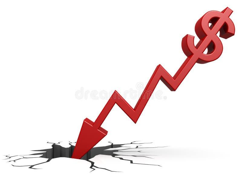 Dólar vermelho para baixo à terra ilustração do vetor