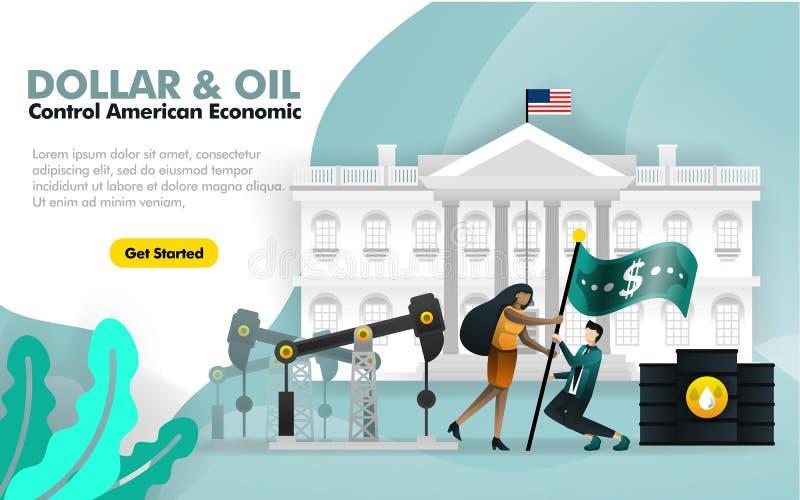 Dólar y economía americana del control del aceite con el fondo blanco de la casa y la bandera del dólar de dos personas que vuela ilustración del vector