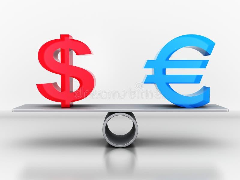 Dólar y euro de la muestra en las escalas stock de ilustración