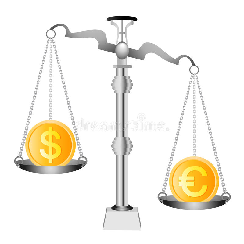 Dólar y euro en escalas libre illustration