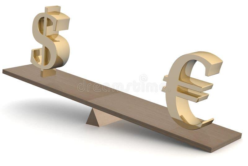 Dólar y euro en escalas. libre illustration