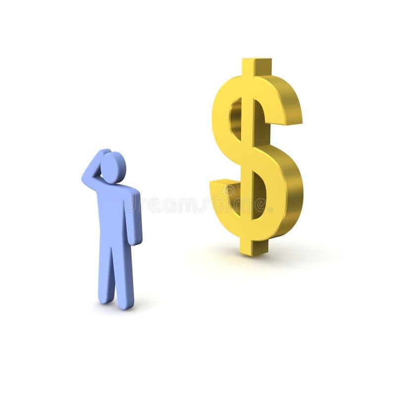 Dólar y persona de oro stock de ilustración