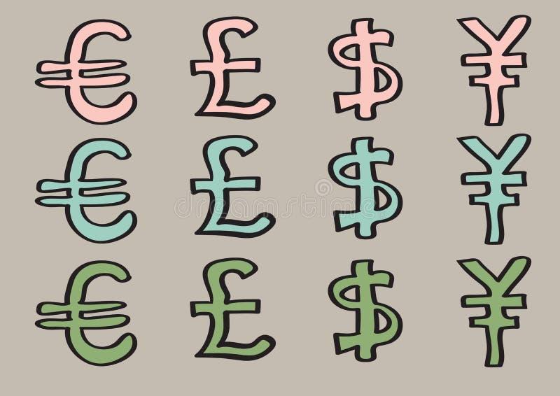 Dólar y Yen Signs euro de la libra como símbolos de moneda libre illustration