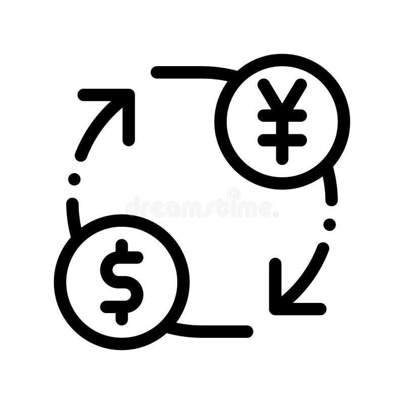 Dólar Yen Vector Thin Line Icon del dinero de la moneda libre illustration