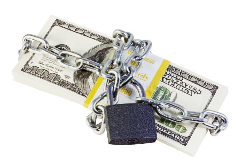 Dólares acorrentados e travados fotografia de stock royalty free