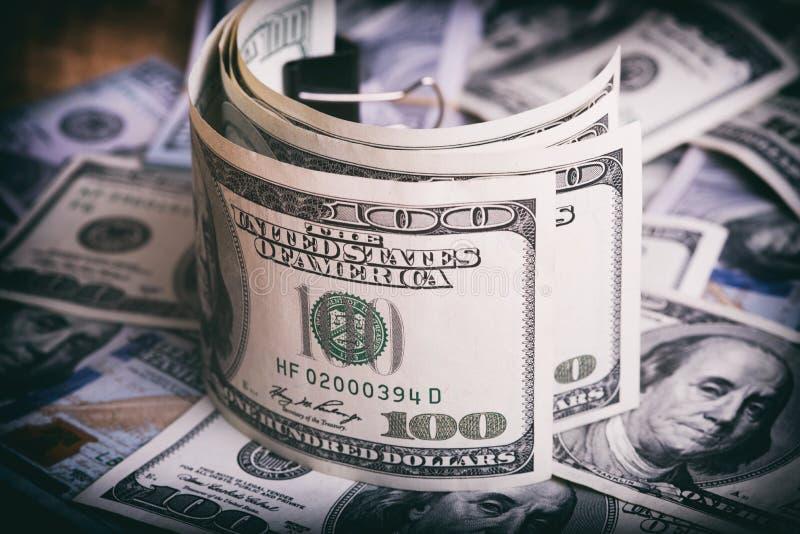 Dólares americanos da moeda fotografia de stock