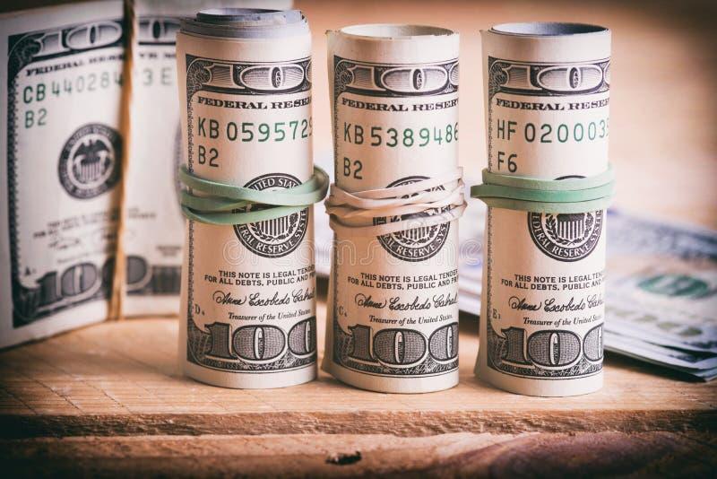 Dólares americanos da moeda fotografia de stock royalty free
