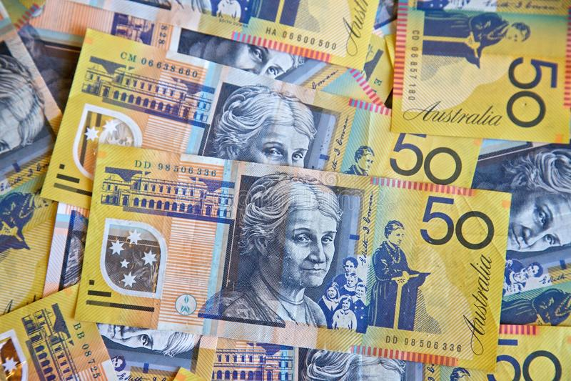 Dólares australianos imagens de stock