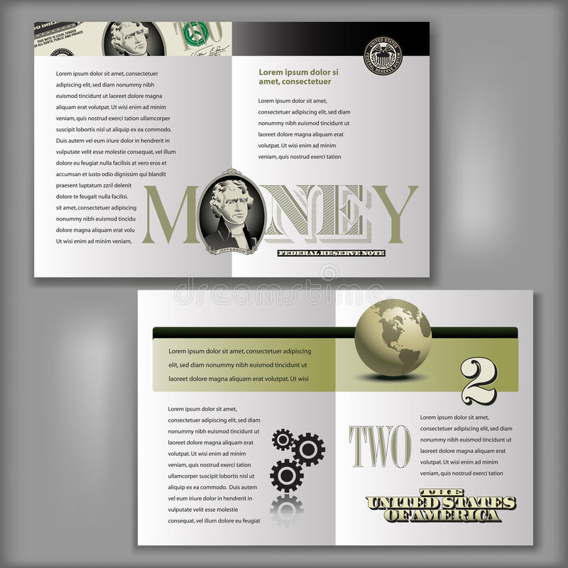 2 dólares Bill Brochure Template libre illustration