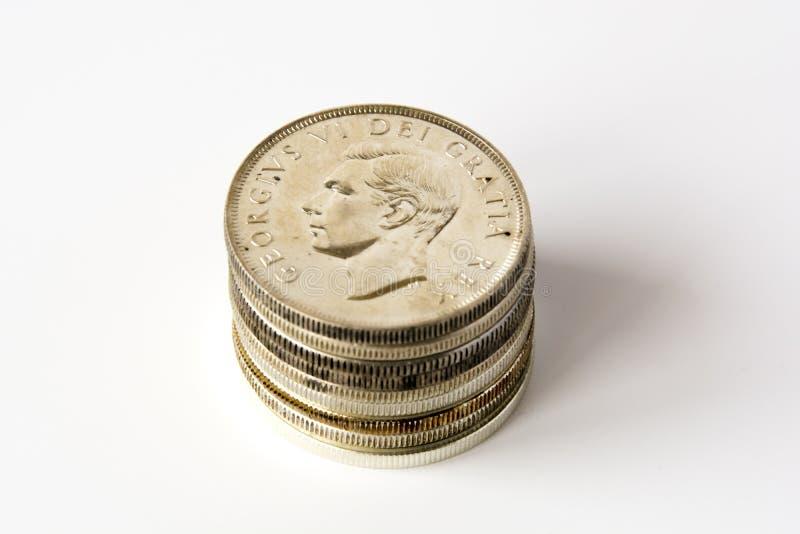 Dólares canadenses de prata foto de stock