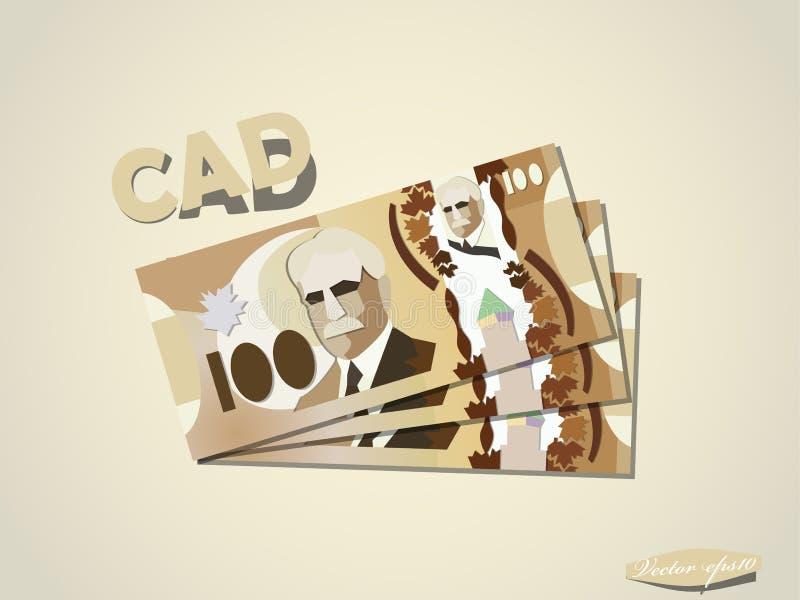 Dólares canadenses de projeto gráfico mínimo de vetor do papel do dinheiro ilustração do vetor